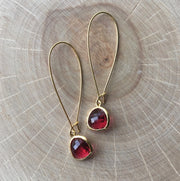 Gold Framed Glass Drop Earrings