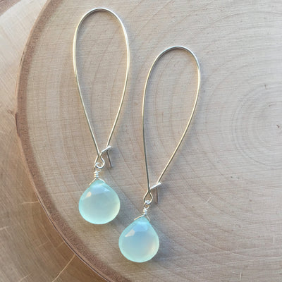 Silver Gemstone Drop Earrings