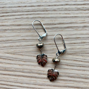 Silver Monstera Leaf Earrings