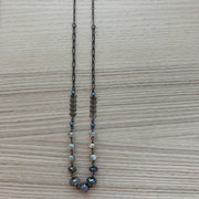Gunmetal Wire Wrap Long Necklace