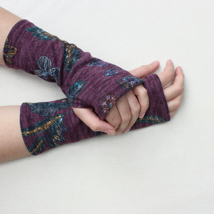 Heather Printed Jersey Fingerless Glove