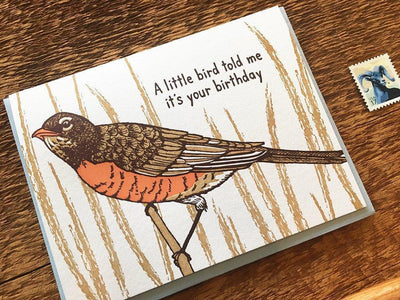 "Birthday Card Letterpress ""Little Bird"""