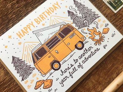 "Birthday Card Letterpress ""Camper"""