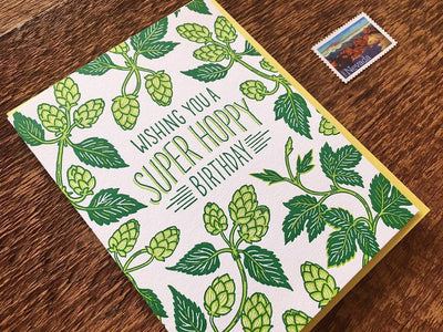 "Birthday Card Letterpress ""Super Hoppy"""
