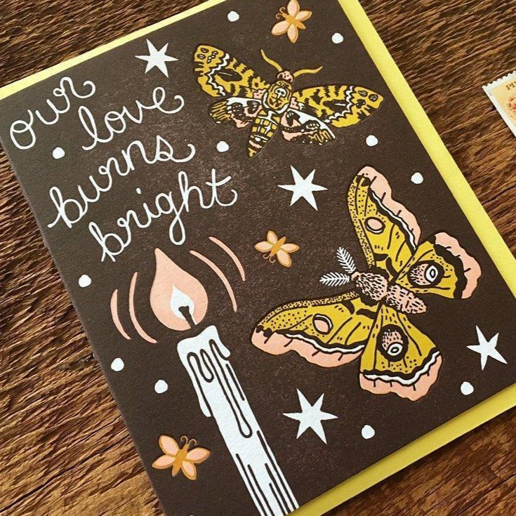 "Love Card Letterpress ""Burns Bright"""