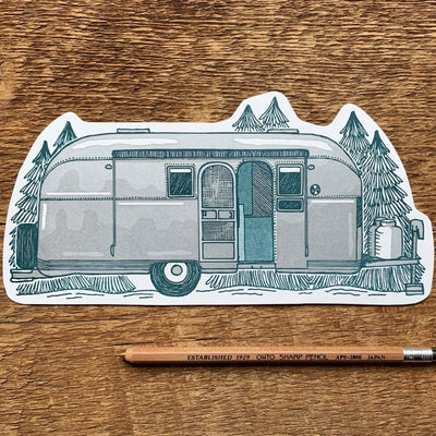 Postcard Letterpress Airstream