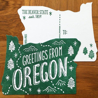 Postcard Letterpress Oregon