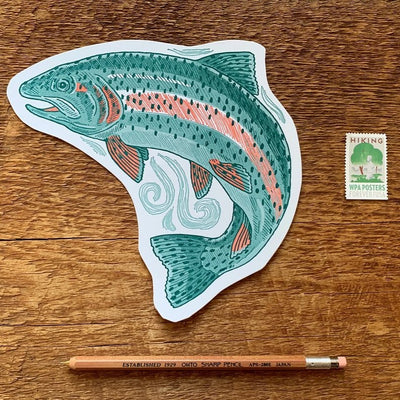 Postcard Letterpress Trout