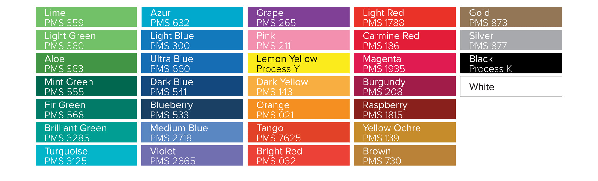 available bottle ink colours