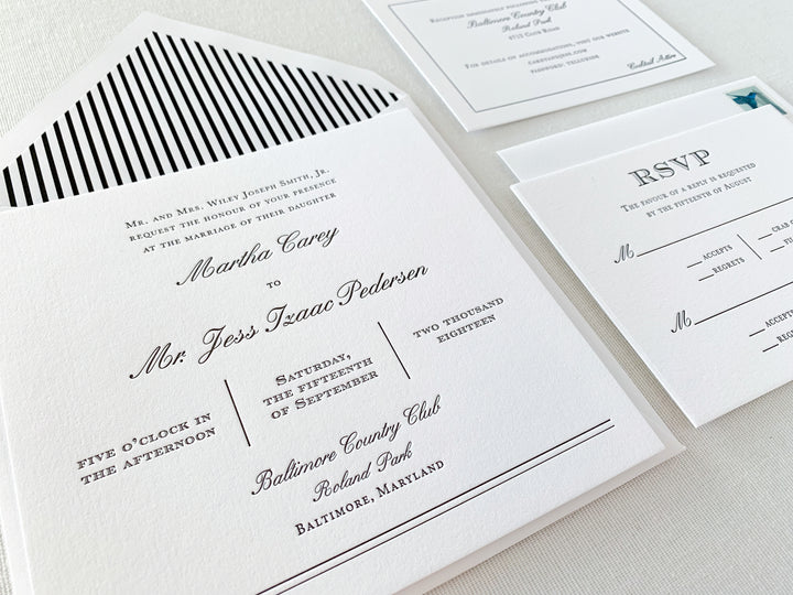 Classic Black and White Letterpress Wedding Invitation Suite