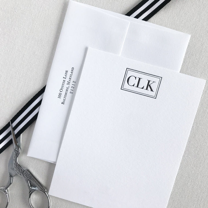 New Vogue Monogram Letterpress Stationery