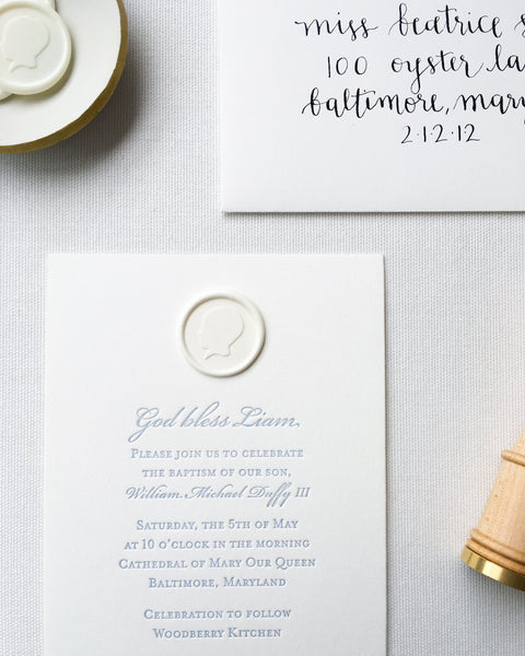 Custom Baptism Invitation featuring Baby's Silhouette by Lou's Letterpress