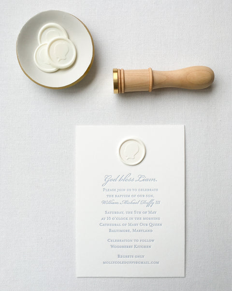 Custom Baptism Invitation featuring Wax Seal Silhouette by Lou's Letterpress