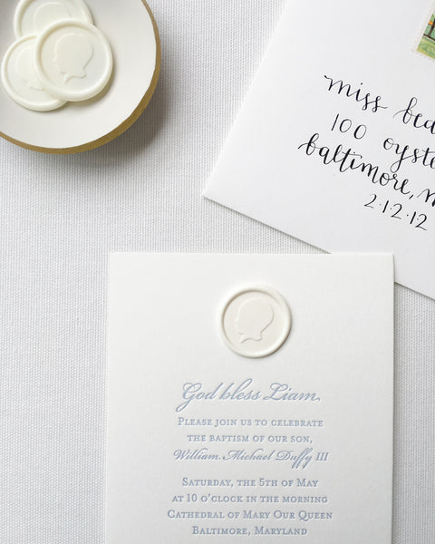 Custom Baptism Invitation featuring Baby Boy's Silhouette by Lou's Letterpress