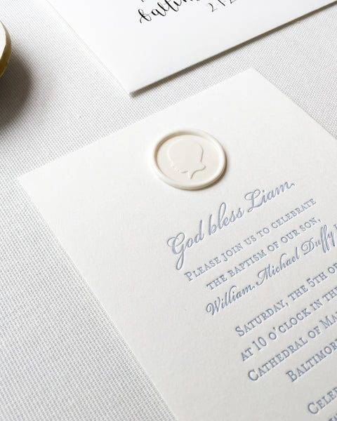 Liams Baptism Invitations Featuring Custom Wax Seal Silhouette