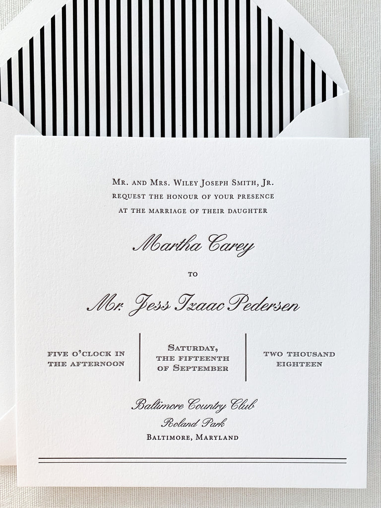 Black and White Letterpress Wedding Invitation Suite