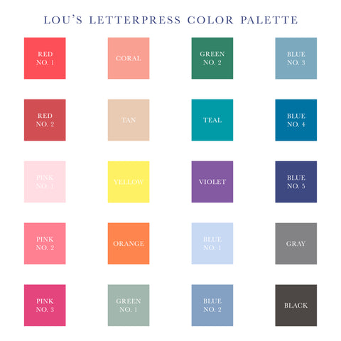 Lou's Letterpress Ink Color Palette