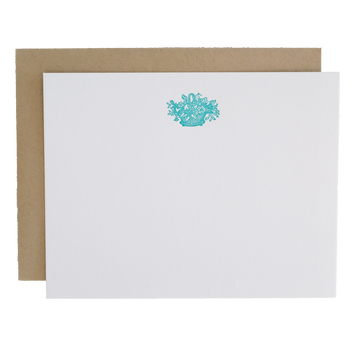 Letterpress Flower Basket Cards, Set of 6