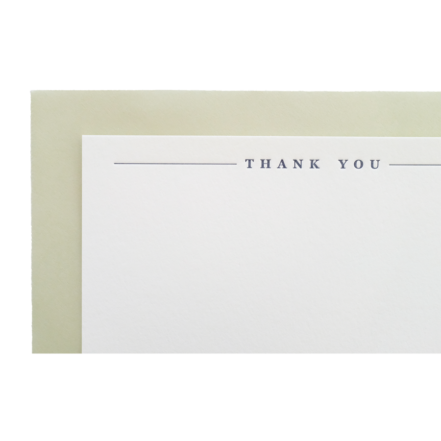 Navy & Green Thank You Cards, Set of 6