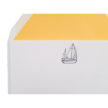 Sailboat Letterpress Thank You Cards, Set of 6