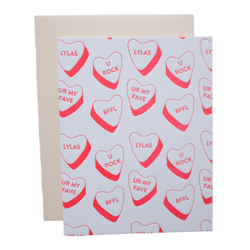 Candy Hearts Galentine's Day Letterpress Greeting Card