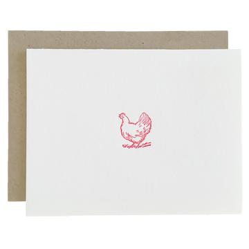Chicken Letterpress Thank You Cards, Set of 6