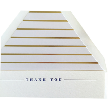 Navy & Gold Letterpress Thank You Cards, Set of 6