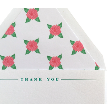 Dahlia Letterpress Thank You Cards, Set of 6