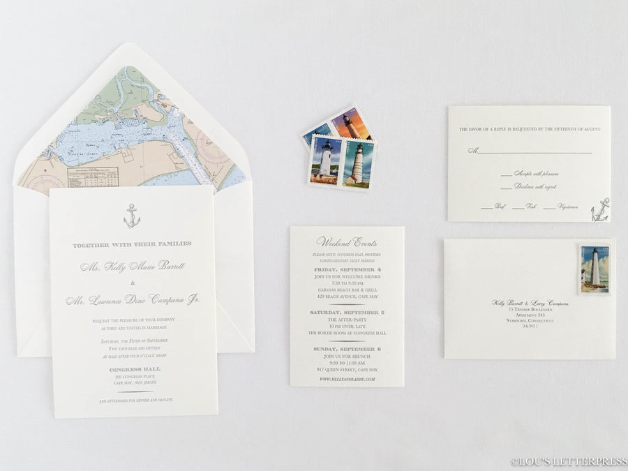 Nautical 'Anchors Aweigh' Letterpress Wedding Invitation Sample
