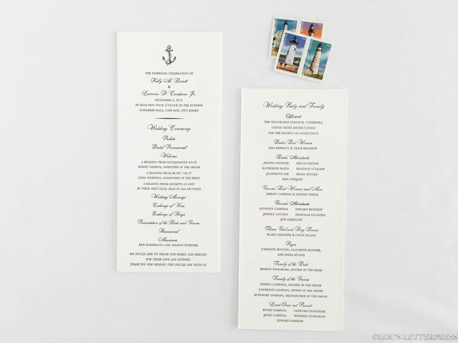 Nautical 'Anchors Aweigh' Letterpress Wedding Program Sample