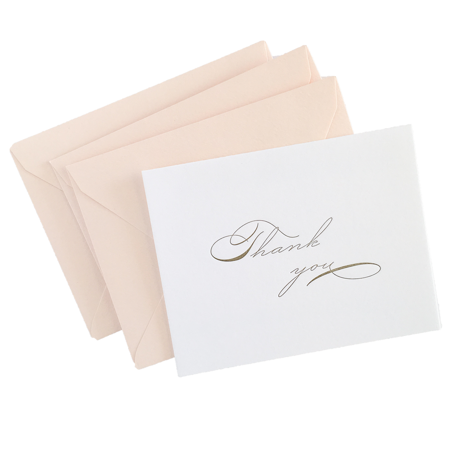 Antique gold Thank You Notes