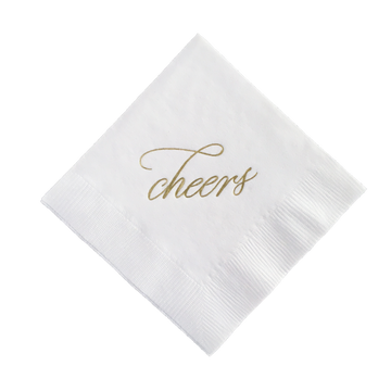 Cheers Gold Foil Cocktail Napkins, Set of 25