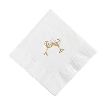 Champagne Coupe Gold Foil Cocktail Napkins, Set of 25
