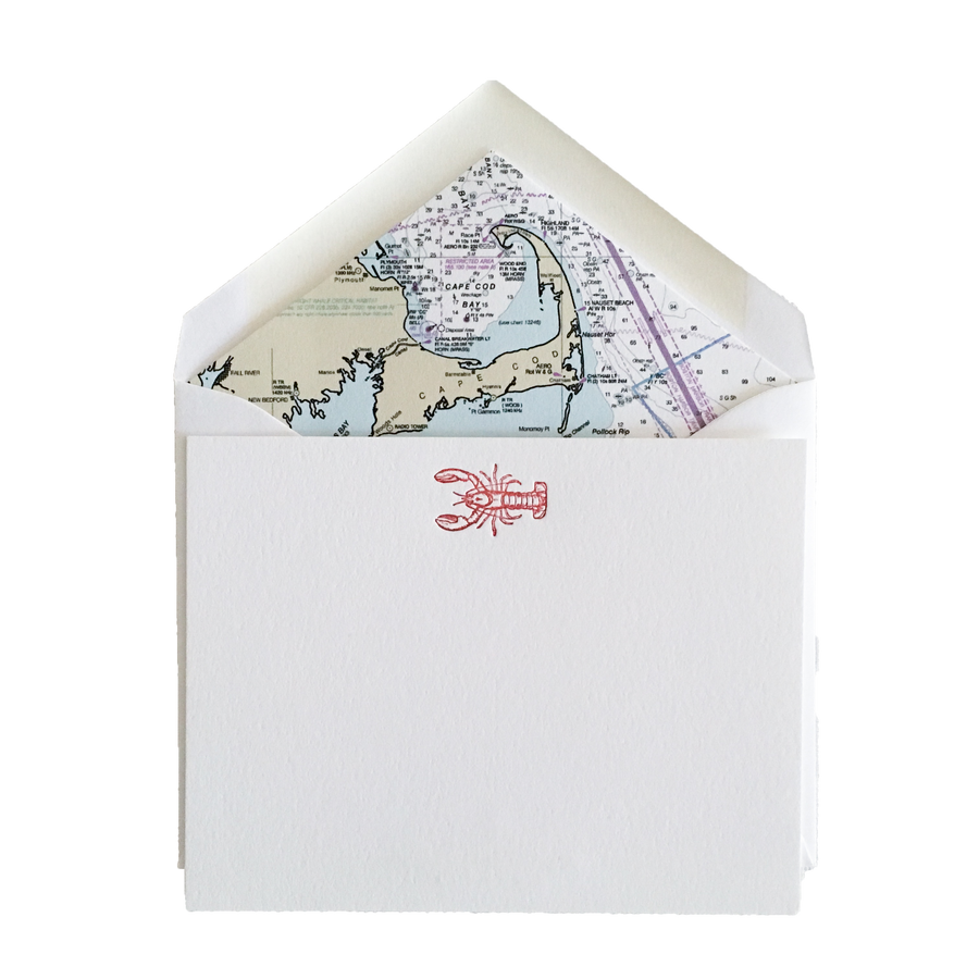 Lobster Letterpress Cards with Cape Cod Nautical Chart Envelope Liners, Set of 6