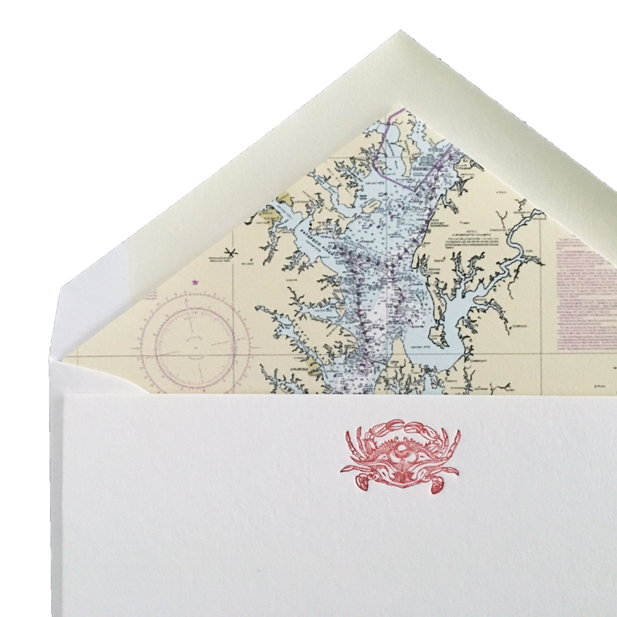 Crab Letterpress Cards with Chesapeake Bay Nautical Chart Envelope Liners, Set of 6