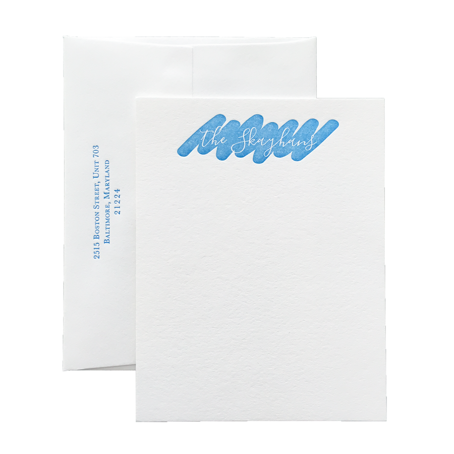 Jot Script Letterpress Stationery