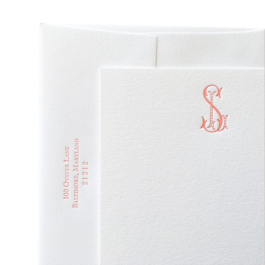 Solid and Striped Monogram Letterpress Stationery
