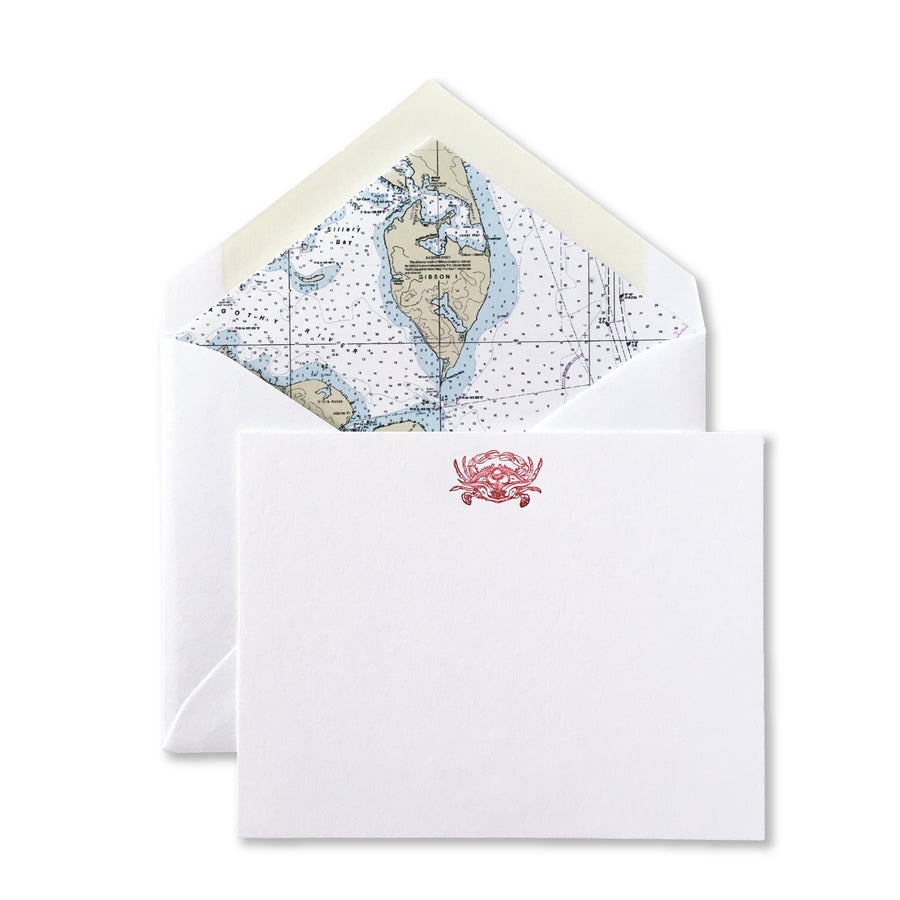 Crab Letterpress Cards with Magothy River Nautical Chart Envelope Liners, Set of 6