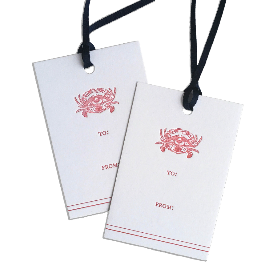 Crab Letterpress Gift Tags, Set of 6