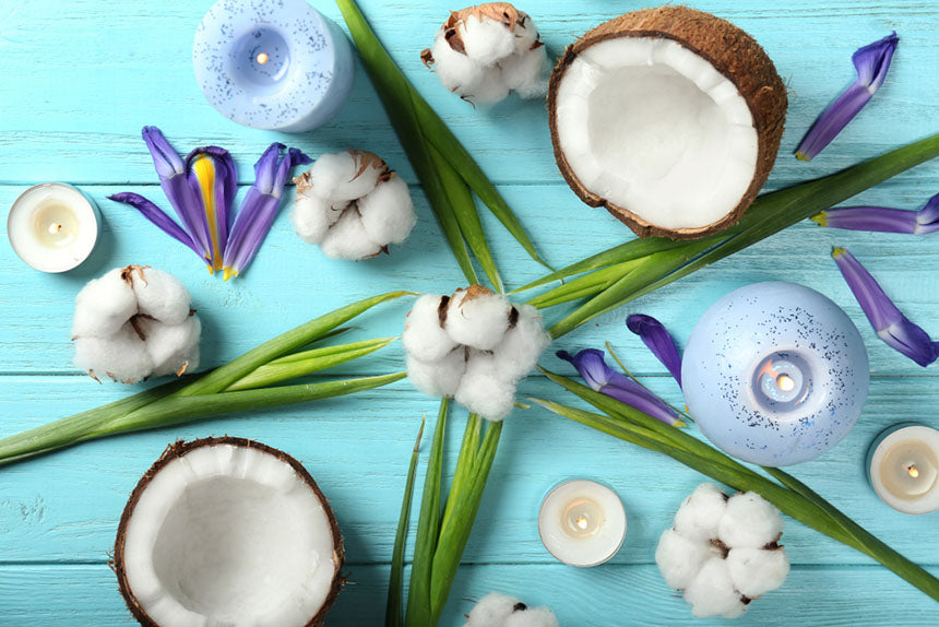 open coconut on table