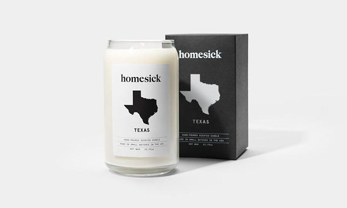 homesick texas candle with packaging