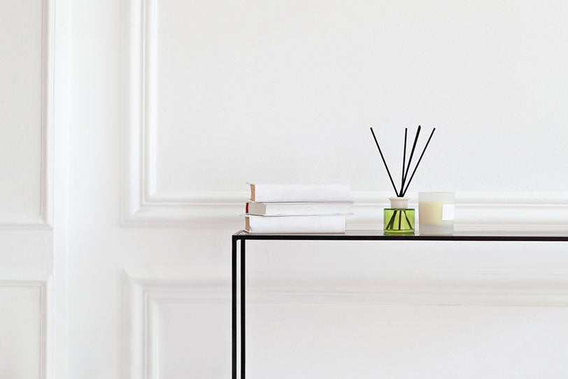 reed diffuser on home table