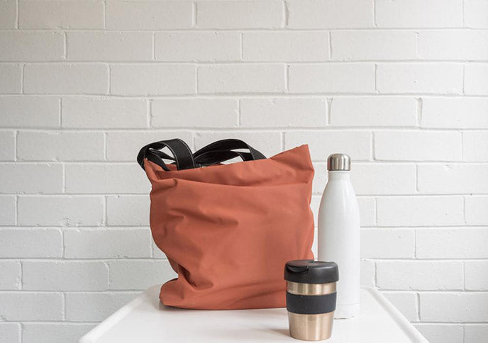 insulated drink bottle and shopping tote bag