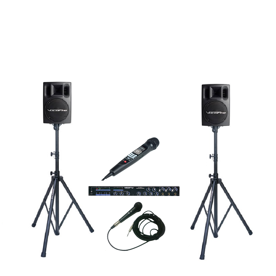 CV-2: Additional Mixer, Wired Microphone and Powered Speakers - Seattle Karaoke - Rental - Systems w/ English Songs