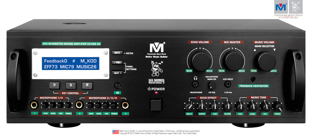 Better Music Builder DX-288 G3 900Watts CPU Integrated Mixing Amplifier - Seattle Karaoke - Better Music Builder - Mixing Amplifier - 1