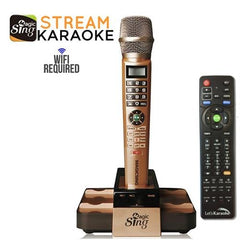 MagicSing-E5 Dual Wireless Streaming Karaoke Microphone System comes with a 1-Year Subscription card)