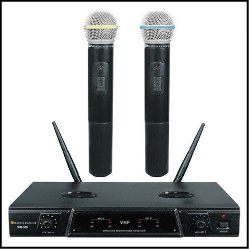 Wireless Rechargeable VHF Dual Mic System<br>Martin Ranger: WM-300<br><font color=white>--</font>