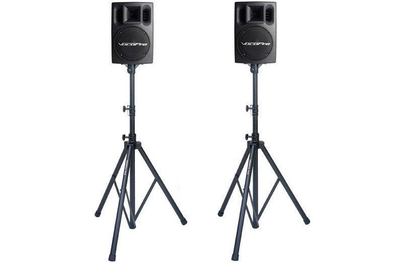 Rental Powered Speakers (Pair, 400 Watts Total) with Stands