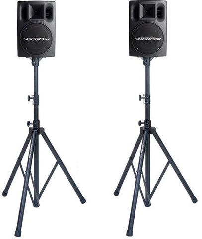 "'- Pair of 8"" 200 Watts Powered Speakers with Stands & Mixer - Seattle Karaoke - Rental - Speakers & Stands"