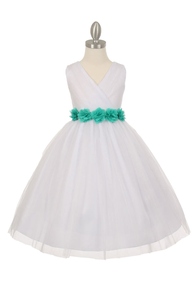 7fe7d346c61 CinderellaCouture-CC1220WT-White Crystal shiny tulle V neck pleated ...